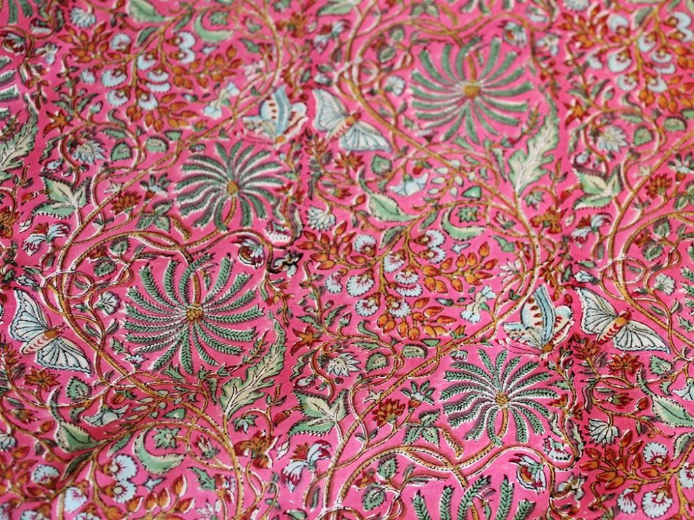 Pink Hand Block Printed Fabric With Oriental Palm Tree